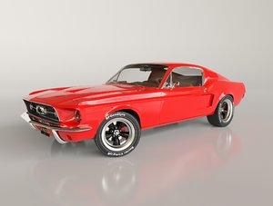 3D mustang fastback 1967 model