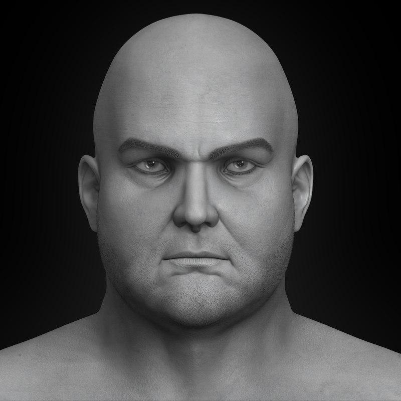 3D model realistic fat man modeled