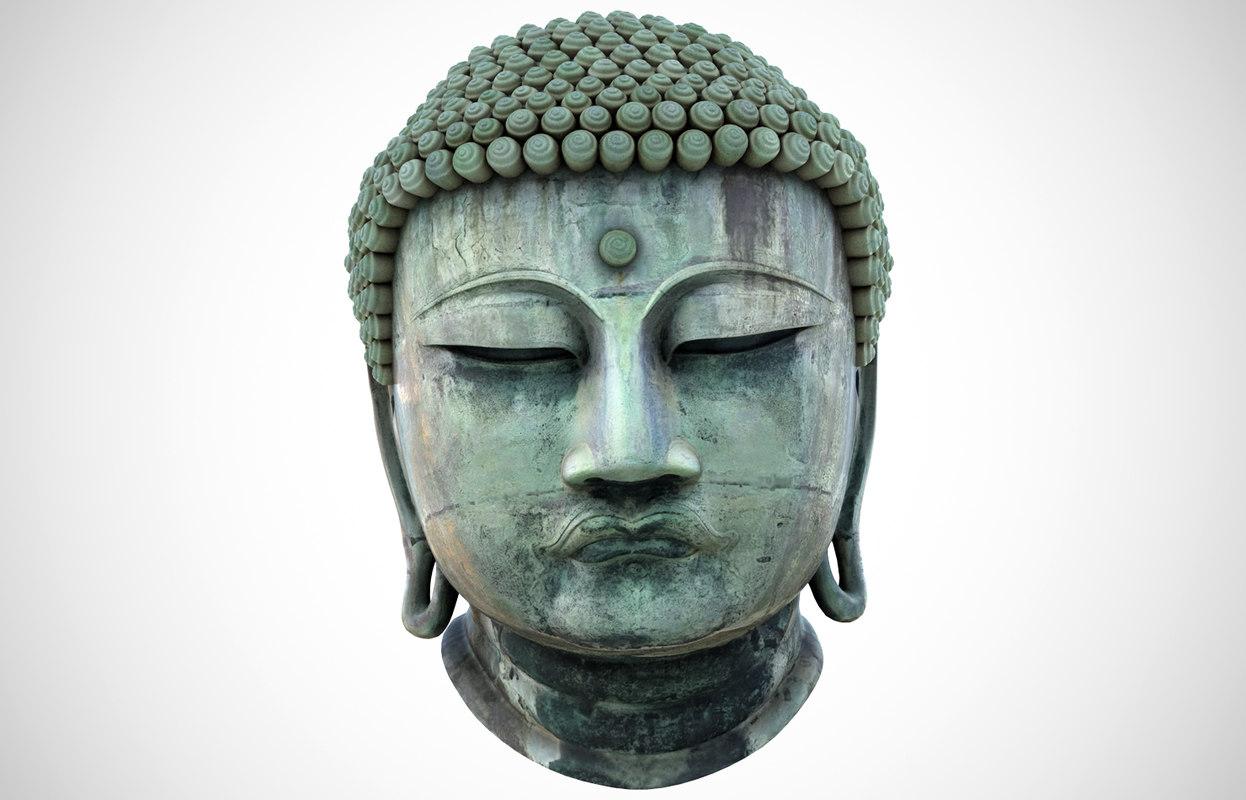 3D great buddha head statue model