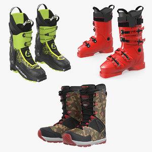 ski snowboarding boots 2 3D
