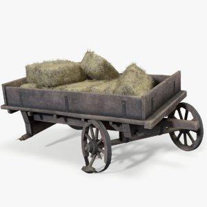 ready broken cart haystacks 3D model