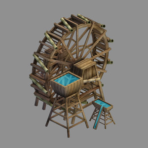 3D yamano - seaside waterwheel model