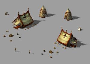 crusaders - barracks tents model