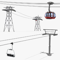 ski gondola lift towers 3D model