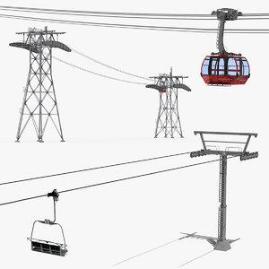 ski gondola lift towers 3D model