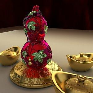 chinese gourd yuanbao 3D model