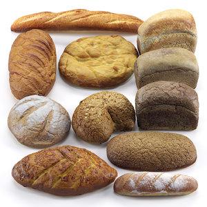 3D white bread baguettes setting