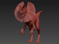 angry dilophosaur 3D