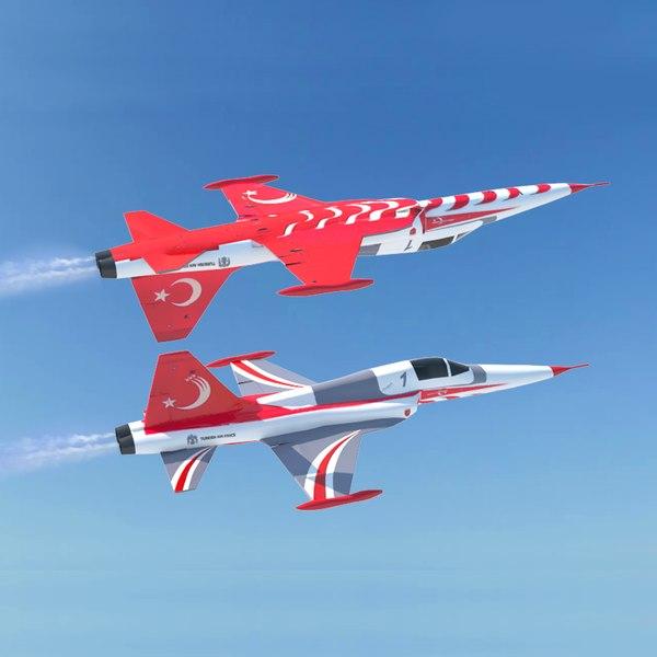 turkish stars f-5 fighter jet 3D model