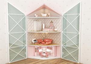 3D corner dollhouse
