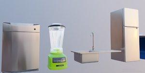 3D 10 kitchen appliance kitchenware model