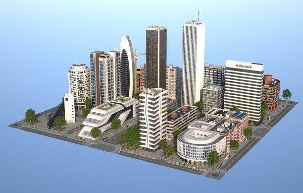white city buildings 2 3D
