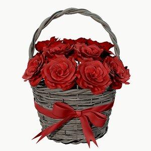 rose bouquet wicker 3D model