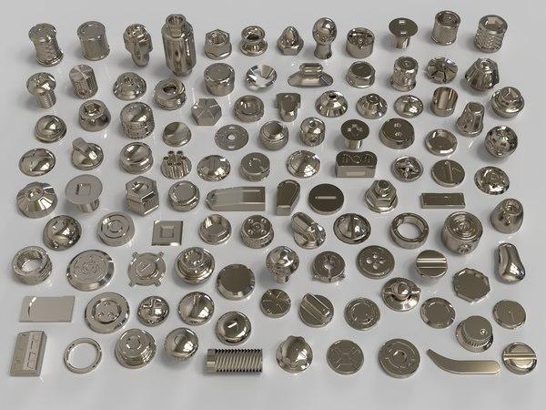 bolts knobs 106 pieces 3D model