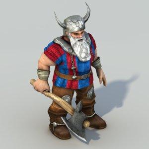rigged dwarf 3d model