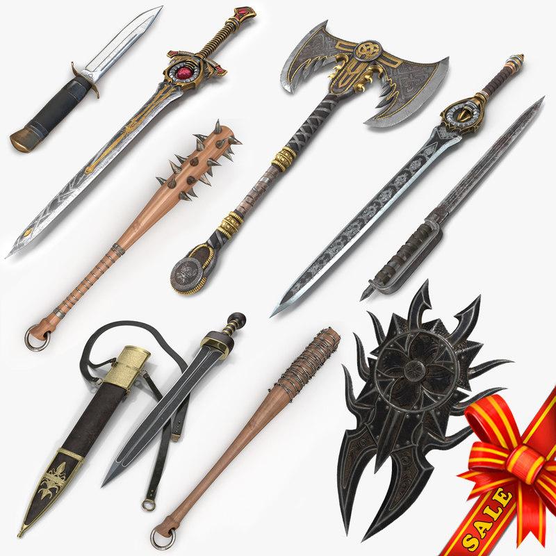 3D weapons v2 sword club model