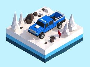 3D cartoon snow jeep vehicle