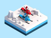 Cartoon Low Poly Snowmobile Racers