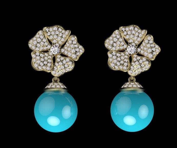 3D earrings jewelry