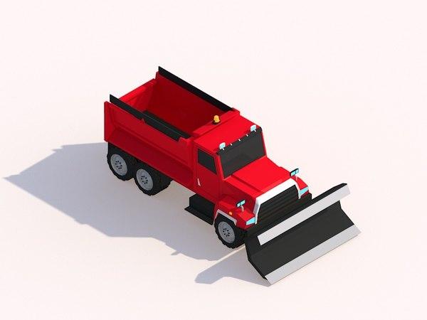 illustration cartoon snow truck 3D model