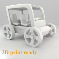 Small 3d print ready toy car 1