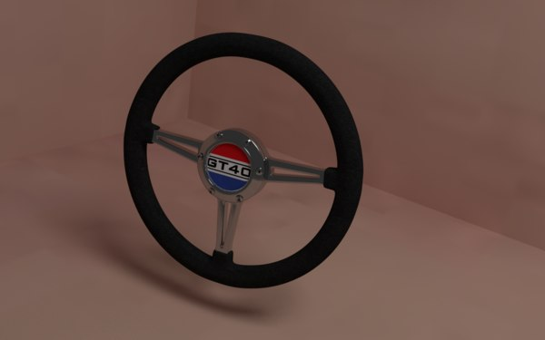 3D car steering wheel gt