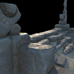 fantasy stone stairs 3D model