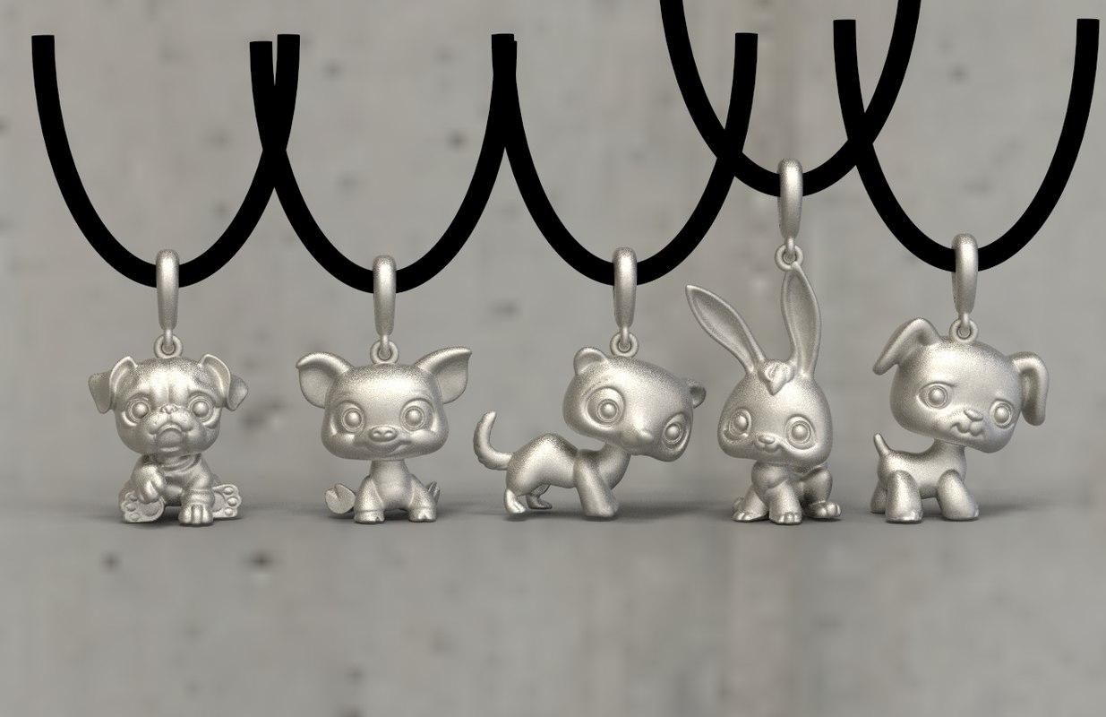 pendant necklaces jewelry model