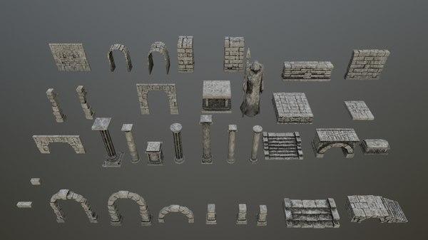 3D model archway column pillar