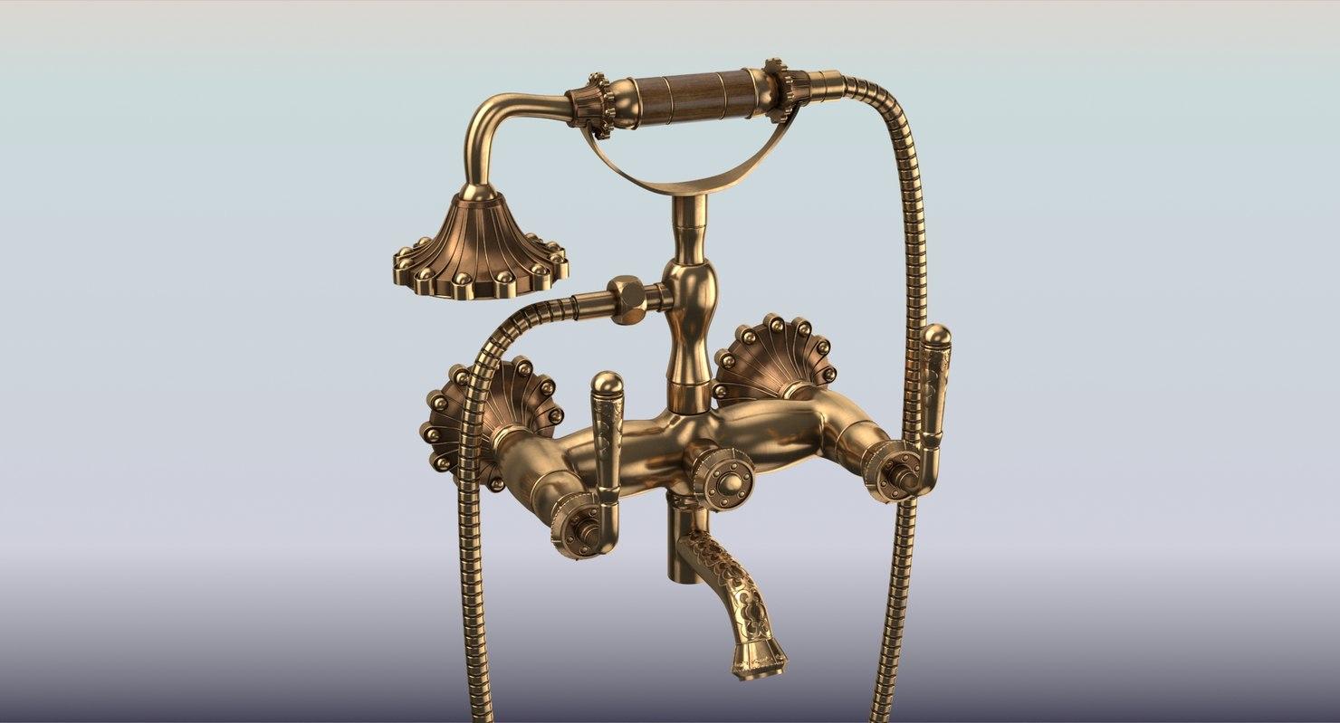 antique brass faucet 3D