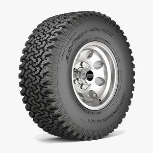 3d model road wheel tire