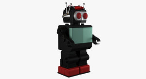 retro robot toy 3D model