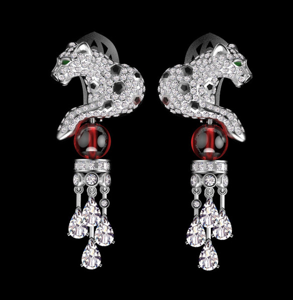 3D panther earring