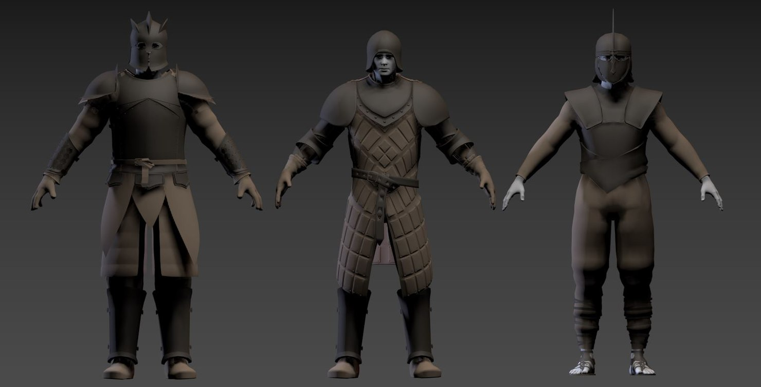 3D model armor thrones set