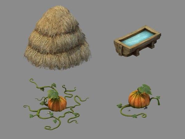 3D xinrencun farm - object
