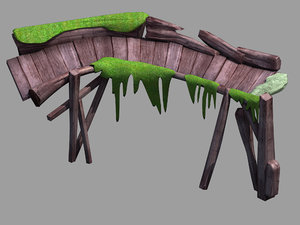 field - wooden bridge 3D model