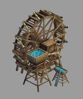 3D field - riverside waterwheel