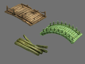field - stone bridge 3D model