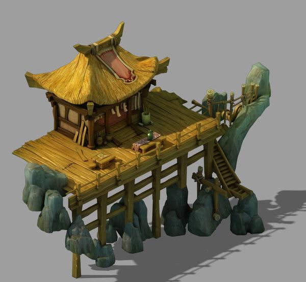 3D cliffside - wooden pavilion