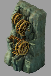 cliffside - waterwheel 02 model