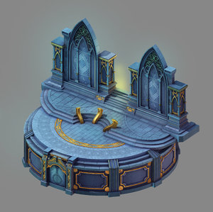 3D moon city - temple