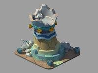 battle tower destructive status 3D model
