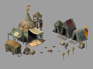 3D war - barracks tents