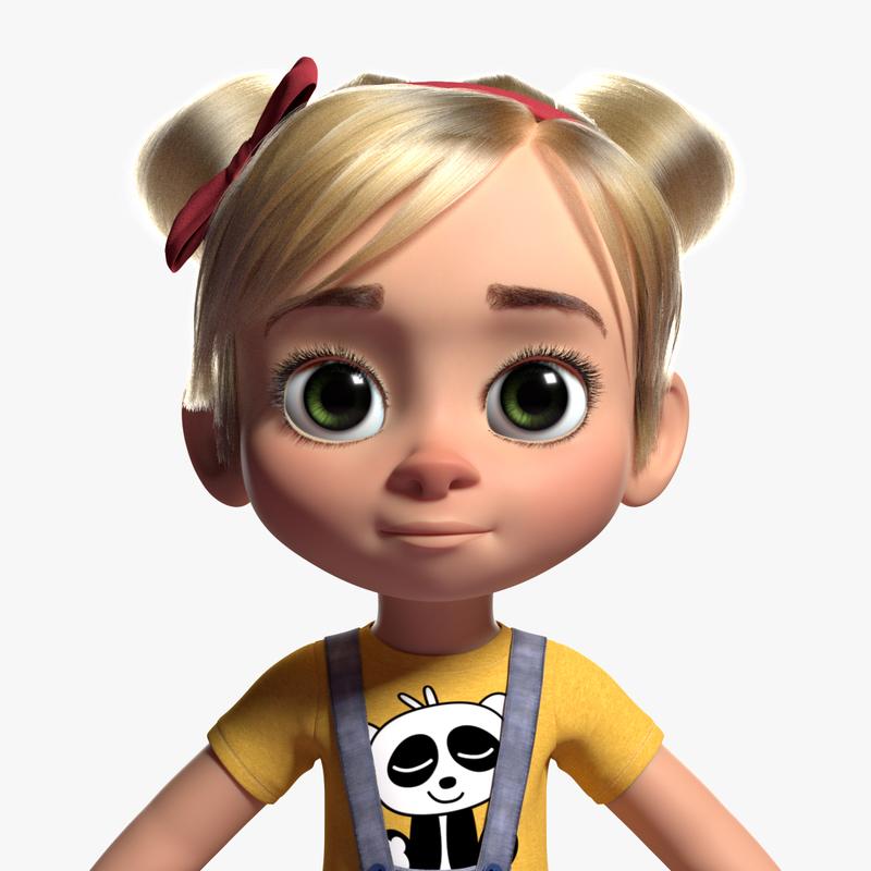 realistic little girl character 3d model