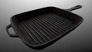 iron grill pan - 3D model
