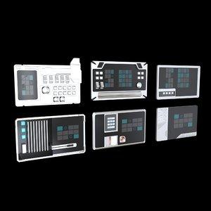 sci fi comand panels 3D