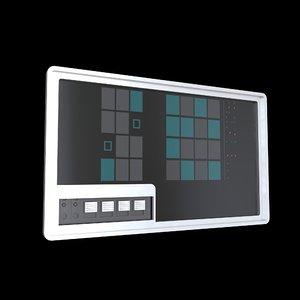 3D model sci fi comand panel