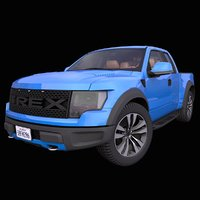 generic pick-up truck interior car 3D model