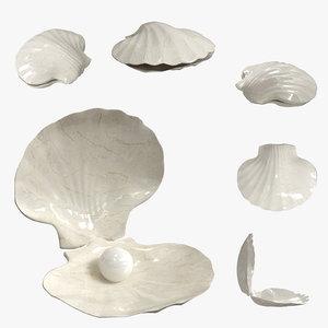3D sea shell pearl decor