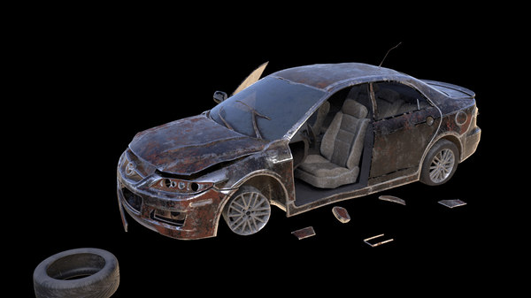 damaged abandoned car model